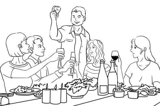简易聚餐手绘图片